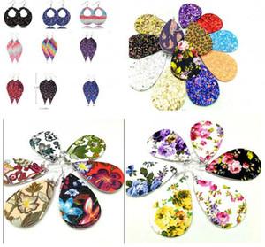 Weihnachtsgeschenk 10 Styles Mix Faux Teardropohrringe PU-Leder baumeln Ohrringe für Frauen