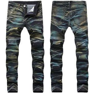 Mode homme Pantalons Denim Painted couleur multi Sretch imprimés Jeans Pantalons Homme Taille Plus 29-42