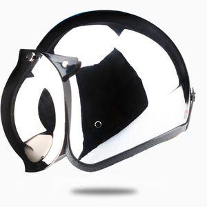 Aprire Casco moto d'epoca Kask Capacete Argento Cromato Retro Casque Specchio Pilot Jet Moto 3/4 Mezza Casco DOT 513