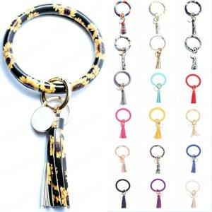 Women Tassel Bracelet PU Leather Wrap Key Ring Leopard Print Keychain Wristband Sunflower Drip Oil Circle Bangle Chains
