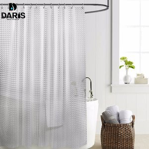SDARISB plástico PEVA 3d chuveiro Waterproof cortina transparente White Clear Banho Cortina de luxo Bath cortina com 12pcs Hooks