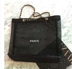 Mesh shopping bag di corsa della spalla mano a catena in argento delle signore delle donne di modo caldo di borsa da spiaggia tote casuale Borse Designer