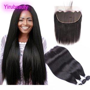 Malaisie Extensions de cheveux humains 8-30inch 3 Bundles Avec 13X6 dentelle Frontal bébé Extensions cheveux Siky Droit Virgin Hair Trames Avec 13 * 6