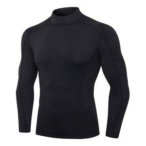 dos homens da aptidão manga comprida de alta estiramento magro de secagem rápida Correndo TREINO Colocar Turtleneck Color Matching Sports Top T-Shirt3