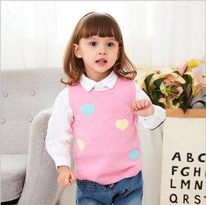 Wollweste O Ansatz Kinderkleidung Herbst Winter neue Strickjacke Mädchen gestrickte Weste Pullover Liebe Mode 95-135cm