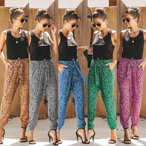 Moda soltas Lace Up Calça Casual Famale Designer Pants Womens Leopard Print Calça Casual Verão