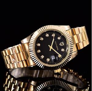 Relogio Üst Marka Lüks İzle Erkekler Takvim Siyah defne Yeni tasarımcı Elmas Elbise altın saat reloj mujer gül kaliteli kadınları saatler