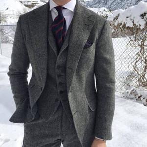Деревенский темно-серый свадебный смокинг шерстяной твид елочка Slim Fit мужской костюм (куртка + жилет + брюки) Ферма выпускного вечера жениха наряд плюс размер B086