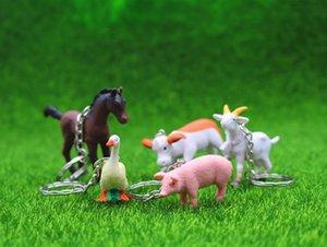 Granja animal llavero bolsa coche llavero lindo caballo vacas pato cerdo ovejas colgante figura llavero regalo de cumpleaños 24 unids / lote venta al por mayor de alta calidad