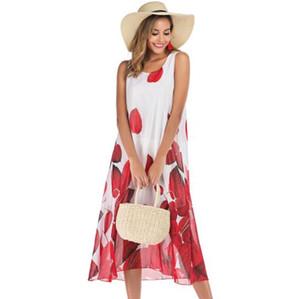 Bayan Yaz Tasarımcı Flora Baskılı Elbiseler Kolsuz Şifon Ekip Boyun Moda Kadın Plaj Stil Gündelik Giyim