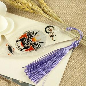 Style traditionnel chinois Veine de l'opéra de Pékin Bookmark New Creative Leaf signets avec Tassel Office School Supplies