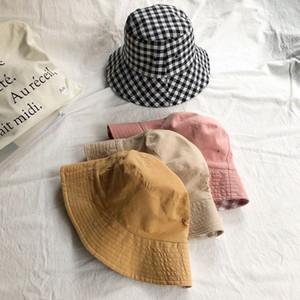 اليابانية المرأة الصيف بنات عكسية دلو قبعة حلوة منقوشة تحقق مطبوعة واقية من الشمس Packable عارضة صالة كاب الصياد