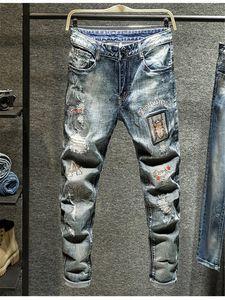 2020 Spring Mens Jeans Ripped trou Applique Pantalon broderie Washed Homme Crayon Motif Lettre Mode Homme Pantalons