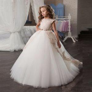 20120 Elegante spettacolo della ragazza Dresse principessa Bow Short Sleeve Dress Prom Abito Piano Lunghezza Graduatioin Partito abito di sfera per le ragazze