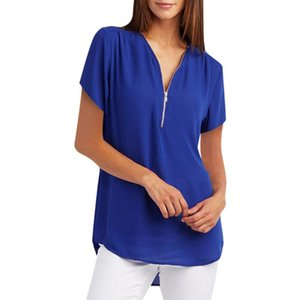 Zipper Short Sleeve Women Shirts Sexy V Neck Solid Women Top Blouses Casual Tee Shirt Tops Female Clothes Plus Sizes