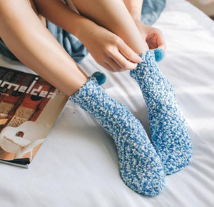 winter warm cake cup sock fashion women thick coral fleece sock novely cute girls floor sock soft long fur ball pom socks christmas gift