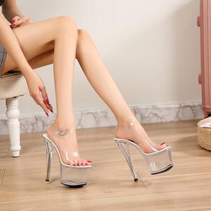 Walking Show Stripper Heels Clear Shoes Woman Platforms High Heels Sandals Women Sexy Big Yard Fish Mouth Shoes 2020 New