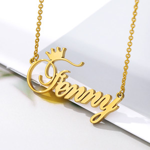 Custom Name Crown Necklace Necklace For Women Personalized Stainless Steel Gold Chain Customized Jewelry