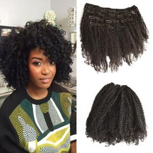 Оптовая дешевые 7 шт. / компл. 4a, 4B афро кудрявый вьющиеся клип в человека наращивание волос 8-24 дюймов натуральный blac для черных женщин G-легкие волосы
