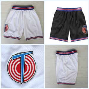 Mens Tune Squad Space Jam Movie Basketabll Shorts Double Stitched Best Quailty White Black Sports Shorts S-XXL