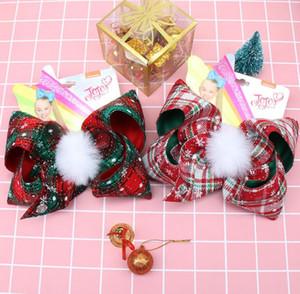 Navidad de la tela escocesa de la horquilla de 7 pulgadas JOJO Bowknot Barrette niños con Pompones Kids Boutique grandes pinzas de pelo del arco de pelo de las muchachas Pin GGA2926-1