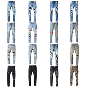 Brand Men Long Jeans Graffiti Trousers Ripped Board Slim Jean Pocket Nightclub Holes Casual Mens Designer Jeans Hot Size 28-42