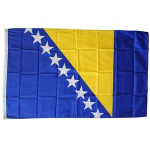 Bosnie-Herzégovine Drapeau 90x150cm BIH Bosnie Drapeau Bannière Pays Drapeaux nationaux 3x5 pi de haute qualité d'impression polyester, livraison gratuite