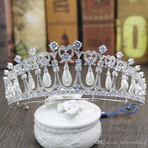 Prinzessin Diana Kronen Braut Diademe Mit Zirkonia Perlen Brautschmuck Mädchen Prom Party Performance Pageant Hochzeit Diademe # DB-JS019