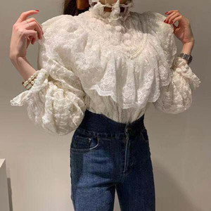 New High Quality White And Black Lace Crochet Runway Tops Women blouses 2020 Fashion Long Sleeve White Ruffles Shirt Blouses camisetas blue