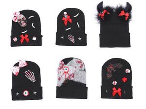 Halloween Bloody Costumes Femmes Hommes Enfants Scary Blood Tricoté Chapeau Chaud Chapeau Zombie Party Accessoires Horreur Décor Mascarade Atmosphère Accessoires
