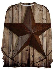 Retro de madera Western Star Sudaderas remata la blusa 3D Digital Polyerster Hombres Ropa de deporte entrenamiento suave algodón