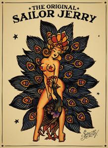 menina Sailor Jerry Vintage Tattoo e um pavão Arte Presentes Silk Poster Paintings