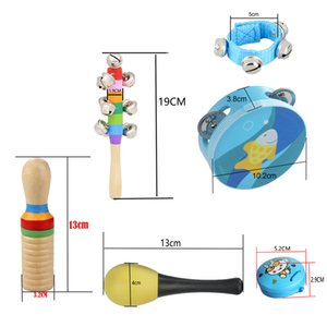 10pcs set Musical Toys Percussion Instruments Band Rhythm Kit with Tambourine Maracas Castanets Handbells Wooden Guiro for Kids
