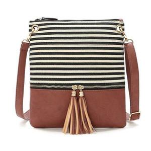 Stripe Tassel Bag 2020 New Arrival Tassel Cross Body Bag Canvas Handbag Women joint Striped Square mini fashion Tassel Bag