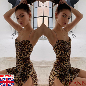UK Womens Ladies V Neck Leopard Printed Bodycon Slip Mini Dress Party Dress Size