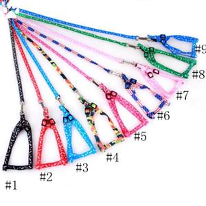 Hundegeschirr aus Leinen Nylon Printed justierbarer Haustier Hundehalsband Welpen-Katze-Tiere Zubehör Pet Halskette Seil Krawatte Kragen EEA552