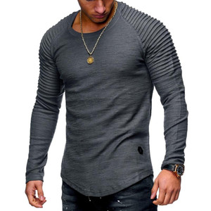 Men's Long Sleeve Muscle Slim T Shirt Solid Color Fit Fitness Tops Fashion T-Shirts Casual O-Neck Male Tshirt Tee Shirt Homme