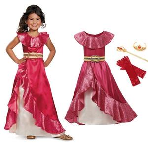 Vogueon 엘레나 Avalor Adventure 드레스 Girls 민소매 클래식 공주 코스프레 마치 남자들 한복 프릴 볼 가운 의상 MX190822