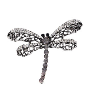 2019 Dragonfly Vintage Broche Mulheres Insect Jóias escavar strass Broches Broches Senhoras lapela Hijab Scarf Banquet Pin 10pcs / lot