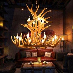 Antlers Harz Leuchter-Lampe Moderne LED Antler Kronleuchter Luster Kronleuchter E14 Vintage-Leuchten Neuheit-Beleuchtung Lichter Anhänger