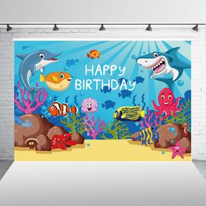 Shark Joyeux anniversaire Toile de fond Sous l'arrière-plan Backdrop baby shower de photo Photographie Sea Party accessoires Décorations