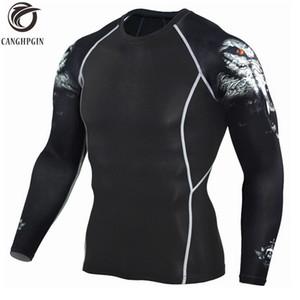 CANGHPGIN Lobo camiseta 3D Camisa deportiva de manga larga Hombres Crossfit Medias de compresión Camisetas para correr para hombre Gimnasio Dry Fit Rashgard