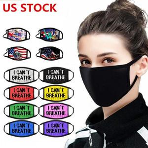 US STOCK, Designer Masque Coton Drapeau américain noir vit matière Bouche Masque Vélo Camping Voyage, 100% coton lavable Masques réutilisables en tissu