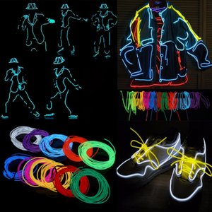EL Neon Light Party Decor car Lights Neon LED Flexible EL Wire Rope Tube Waterproof LED Strip 1 2 3 5 for choice
