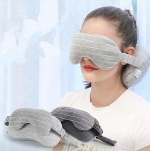 Neck Pillow Eye Mask Portable Travel Head Neck Cushion Flight Sleep Rest Blackout Goggles Blindfold Shade H253 010
