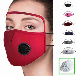 2 In 1 Face Mask With Eye Shield Dustproof Washable Cotton Valve Mask Cycling Reusable Face Mask Protective Face Shield ZZA2369-7