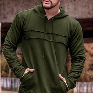 Hülsen-Männer Hoodys Frühling Herren Pullover Herren Designer Hoodies Causal Solid Color Panelled lose lange