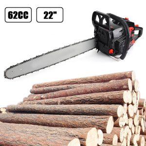 "62cc Chainsaw 22"" Bar Powered Engine 2 Cycle Gasoline Chain Saw machine protable tree logging machine petrol chain saw wood cutting New USA"