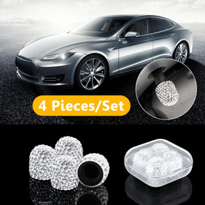Neumáticos de válvula del neumático de coche 4pcs casquillos del vástago antirrobo rueda de coche válvulas de los neumáticos Tallo Cabezales de aire a prueba de polvo de diamante de parpadeo Accesorios