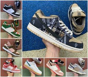 2020 Travis Scotts SB Dunk Düşük Safari Kamkat Erkek Spor Ayakkabı Chunky Dunky Safari Sneakers Çam Yeşil Beyaz Kaykay ayakkabı Koşu x
